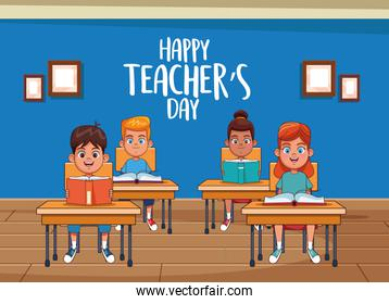 happy teachers day card with students in the classroom