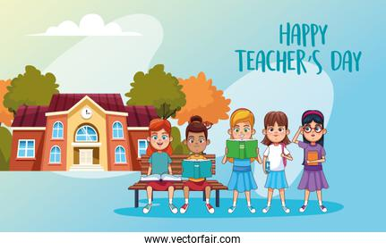 happy teachers day card with students outdoor school