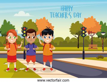 happy teachers day card with students in the street