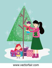 mother carrying little boy and daughter with tree gifts merry christmas, happy new year