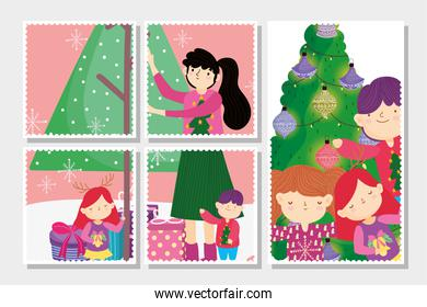 family decorating tree merry christmas, happy new year cards
