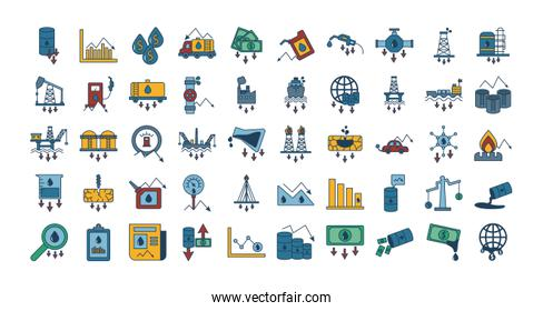 bundle of oil prices set icons