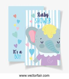 cute elephant its a boy baby shower card