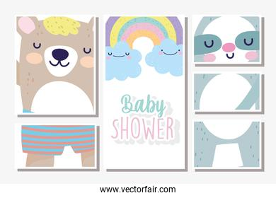 baby shower cards bears rainbow clouds decoration