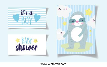 bear kawaii clouds decoration its a boy baby shower card
