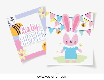 female rabbit with dress bees garland baby shower card