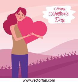 beautiful mother with heart character beautiful mothers day card