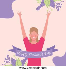 beautiful mother with ribbon frame character mothers day card