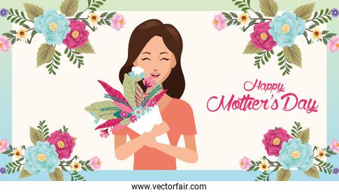 beautiful mother with flower bouquet character mothers day card