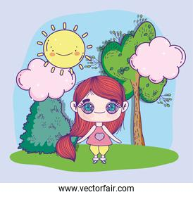 anime cute girl with pony tail park tree sun clouds