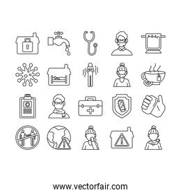 bundle of covid19 set icons