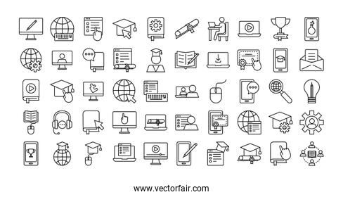 bundle of education online set icons