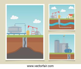 refinery industry process exploration fracking cards