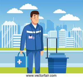 paramedic with medical kit character