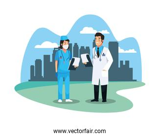 nurse and doctor staff medical on the city