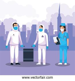 nurse with biosecurity cleaning person