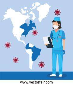 nurse with america maps and covid 19 particles