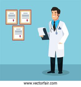 doctor professional with checklist character
