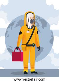 biohazard cleaning person with special suit world planet
