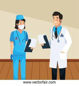 doctor professional and nurse characters