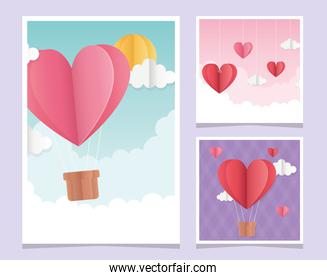 happy valentines day origami greeting cards hearts clouds balloon