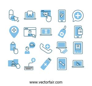 bundle of health online set icons