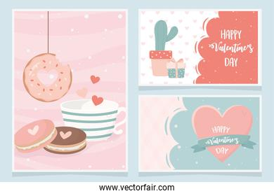 happy valentines day cactus gift cookies donut heart love banners