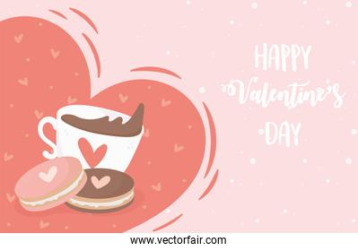 happy valentines day chocolate cup with cookies hearts