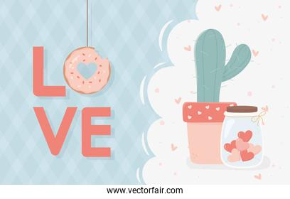 happy valentines day lettering love donut cactus jar with hearts