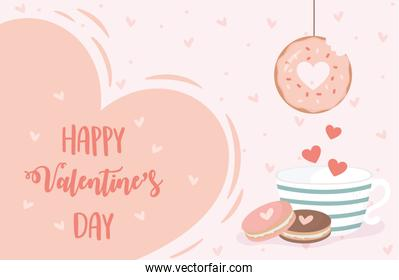 happy valentines day hanging donut coffee cup and cookies hearts