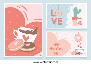 happy valentines day chocolate cup with cookies love heart cactus gifts banners