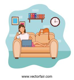 work at home woman character