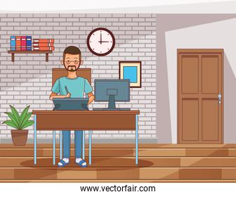 work at home man character