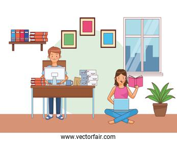 work at home couple characters