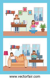 work at home workers characters