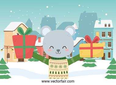 merry christmas celebration cute bear with sweater gifts town snow