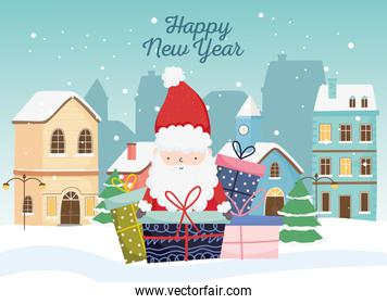 happy new year 2020 celebration cute santa gifts town snow