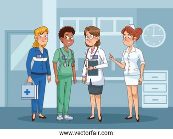 professional female doctors staff in hospital