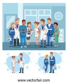 professional doctors staff in hospital characters