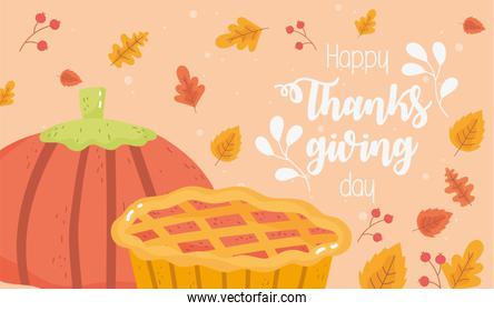 happy thanksgiving day pumpkin and cake fall foliage