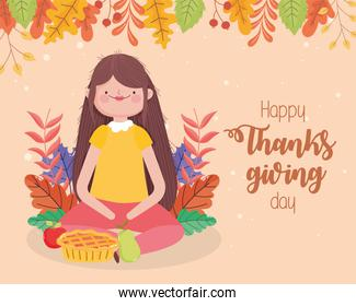 happy thanksgiving day woman with cake apple and pear fall leaves