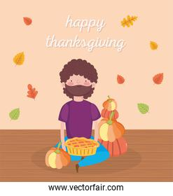 happy thanksgiving day man sitting with pumpkins and cake