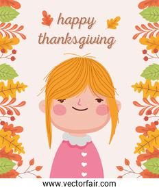 happy thanksgiving day cute girl autumnal foliage decoration