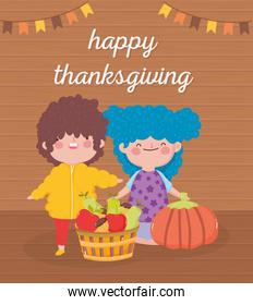 happy thanksgiving day little girl and boy with basket filled fruits
