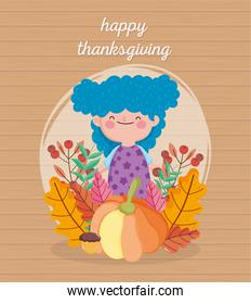 happy thanksgiving day cute girl blue hair with cake pumpkin