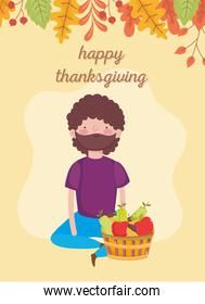 thanksgiving day man sitting with basket filled fruits