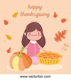 happy thanksgiving day cute little girl with pie and pumpkin