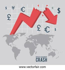 stock market crash with arrows down and earth maps