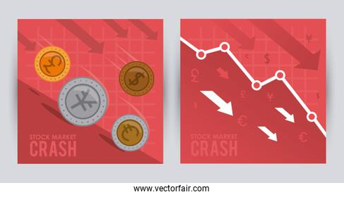 stock market crash with coins money and arrows down