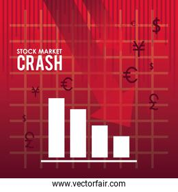 stock market crash with arrows down and statistics bars